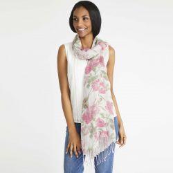 pañuelo de flores en rosa y verde suave