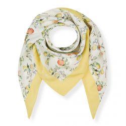 pañuelo cuadrado con naranjas y limones estampadas, ideal para poner al cuello