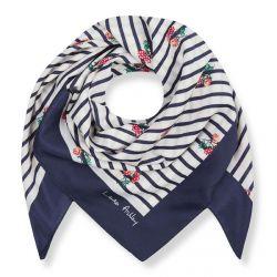 pañuelo cuadrado de rayas azules y bayas rojas ideal para atar al cuello