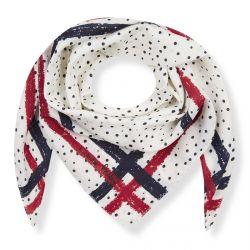pañuelo cuadrado de topos y franjas ideal para atar al cuello