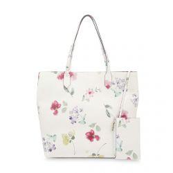 bolso tipo shopper con precioso estampado de flores sobre fondo blanco