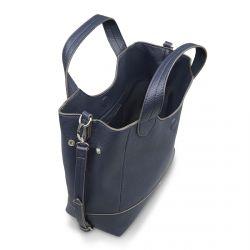 bolso de cuero azul con asa y banda para cruzar con mucho estilo