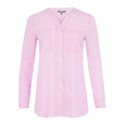 camisa de cuadros rosas con cuello mandarín de diseño