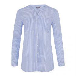 camisa de cuadros azules con cuello mandarín de diseño
