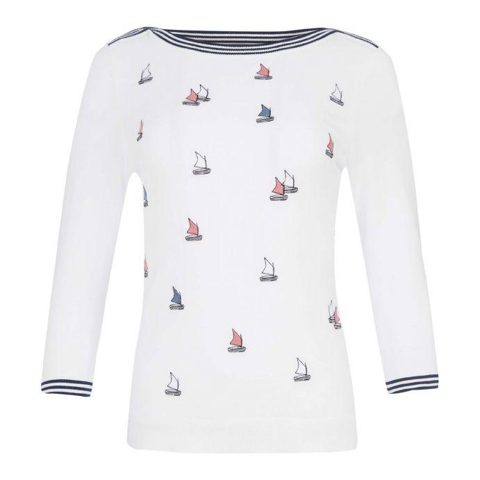 jersey blanco con motivos marineros bordados de diseño