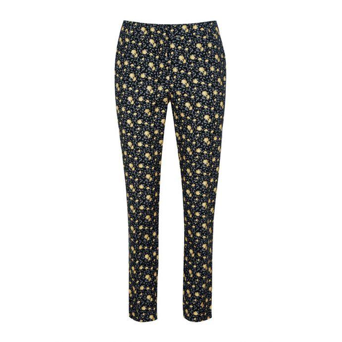 pantalón negro estampado con flores amarillas ideal para verano