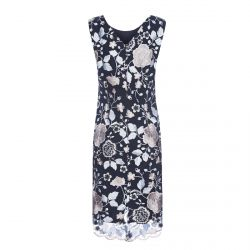 precioso vestido azul marino con bordado de flores perfecto para eventos