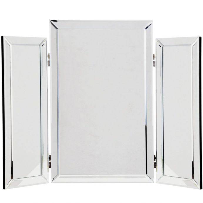 espejo triple con marco biselado de diseño muy elegante para tocador