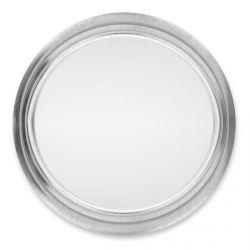 espejo redondo de marco acabado acero de diseño