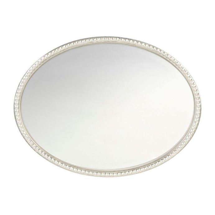espejo ovalado plata con detalle de cuentas en el marco