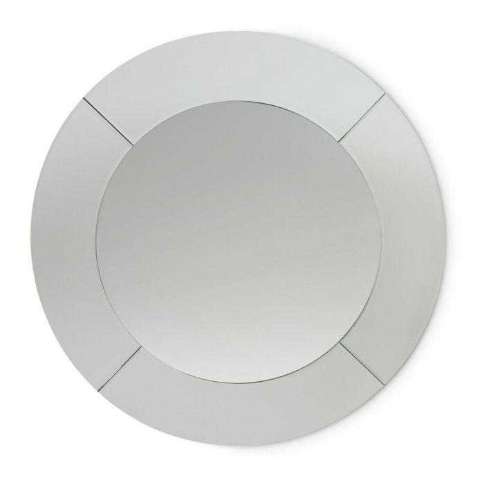 espejo redondo de marco facetado de diseño