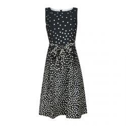 vestido de topos negro y blanco