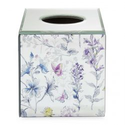 caja para pañuelos espejada con flores y mariposas de colores