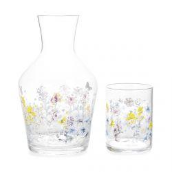 juego de jarra tipo botella y vaso de cristal estampados con flores y mariposas de diseño