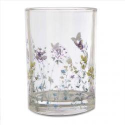portavelas de cristal para velitas de té con mariposas y flores de diseño estampadas