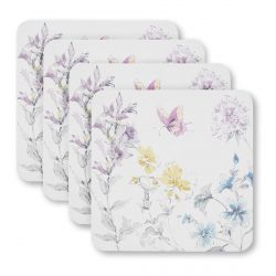 4 posavasos con flores y mariposas de diseño