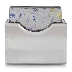 caja con 6 posavasos espejados con mariposas y flores