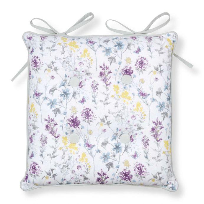 cojín para silla estampado con flores y mariposas moradas, azules y amarillas
