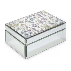 joyero espejado estampado con flores de colores