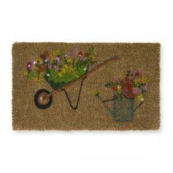 felpudo con carretilla y regadera con flores multi color