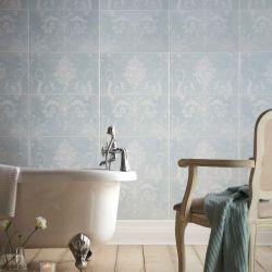 baldosa cerámica para pared de diseño adamascado en azul verdoso