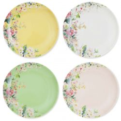 4 platos de melamina de colores con estampado de flores ideal para picnir