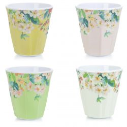 4 vasos de melamina multi color con flores ideal para exterior