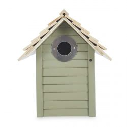 casa de madera verde para pájaros de diseño