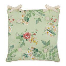 cojín para silla verde con estampado de flores y rayas en el reverso