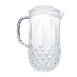 jarra acrílica transparente con diseño facetado