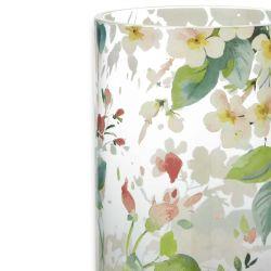 jarrón de cristal con estampado de flores multi color
