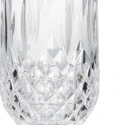 vaso alto acrílico transparente de diseño facetado