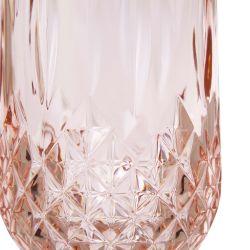 vaso alto acrílico rosa de diseño facetado