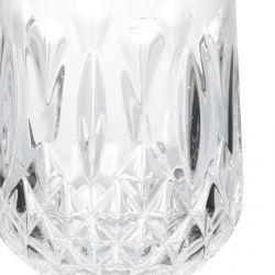 vaso bajo acrílico transparente de diseño facetado