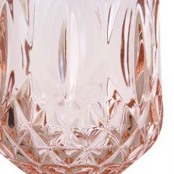 vaso bajo acrílico rosa de diseño facetado