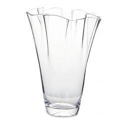 jarrón de cristal con diseño ondulado