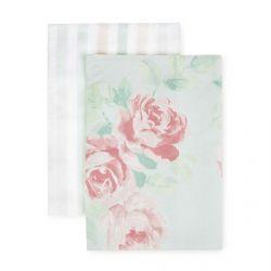 2 paños de cocina de tela estampados con flores rosas y rayas de colores