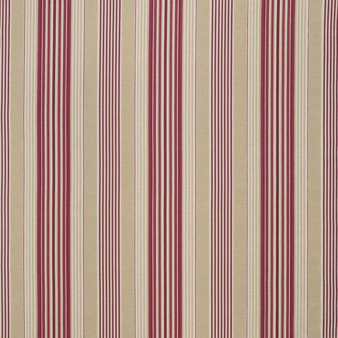 tejido de rayas en rojo y beige de diseño ideal para cortinas y estores
