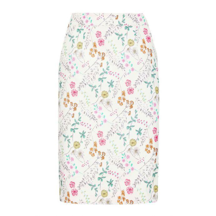 falda de piqué estampada con flores de diseño