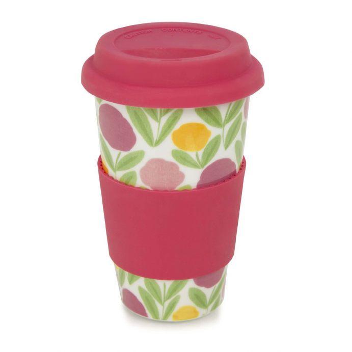 taza con tapa para llevar estampada con flores de diseño