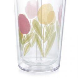 vaso con tapa y pajita con flores de diseño