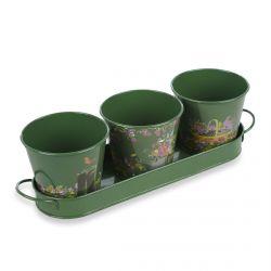 conjunto de 3 macetas metálicas verdes estampadas