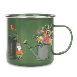 taza metálica verde estampada