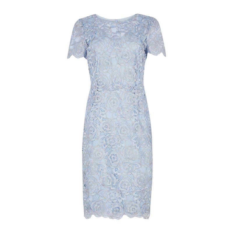 75df38a72 vestido azul con flores de encaja de diseño para invitadas perfectas ...