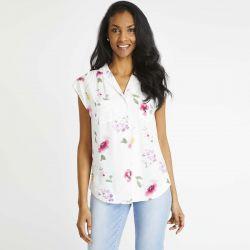 blusa sin mangas con estampados de flores multicolor de diseño
