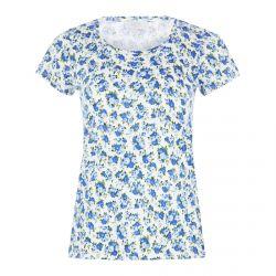 camiseta de algodón estampada con flores azules de diseño