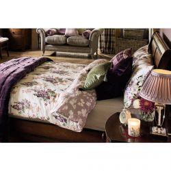 roap de cama de algodón estampado con flores en tonos morados de diseño