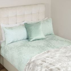 funda nórdica de elegante diseño jacquard en azul verdoso