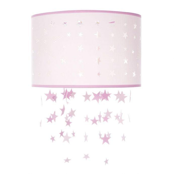 lámpara de techo rosa, ideal para niñas, con detalle de estrellas y cascada decorativa