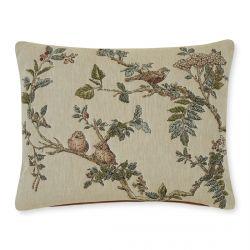 cojín con estampado de ramas y pájaros, efecto tapiz, de diseño natural